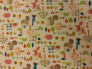 NEW! WOODLAND FAMILY WHITE - Fabric 80% Cotton 20% LINEN - Price Per Metre